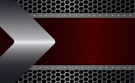 Geometric abstract design with a red textured frame with rivets and a metallic arrow.