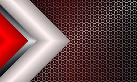 Geometric abstract background with metal grille and arrows of red and white hue.