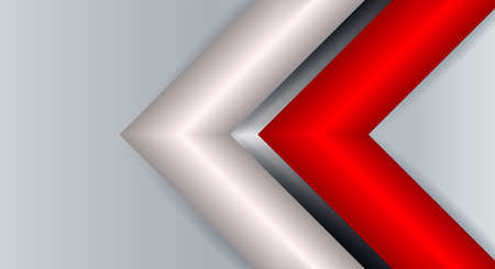 Geometric abstract light background with arrows of red and white hue.
