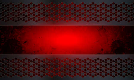 Red abstract textural background with silhouette set of blots, blots and metal frames. Иллюстрация