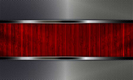 Geometric abstract background with metal grilles and silhouettes of skin boards of red color.