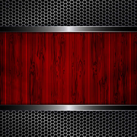 Geometric abstract background with metal grilles and outline of red boards. Illustration