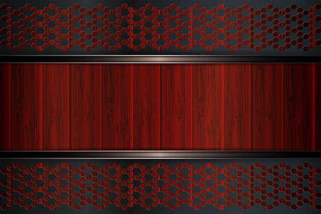 Geometrical abstract background with dark metal grilles and outline of red boards.