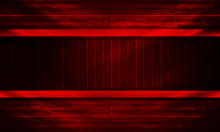 Red abstract background with outline of boards, billboard with rays of light.
