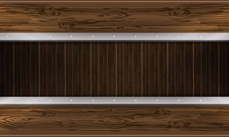 Brown abstract background with outline of boards, billboard with rivets. Stock Illustratie
