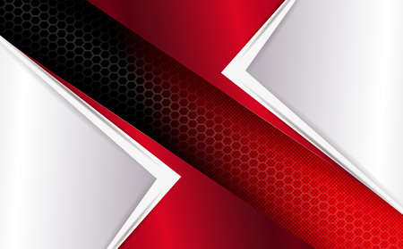 Geometric abstract red mesh background with white arrows. Ilustração
