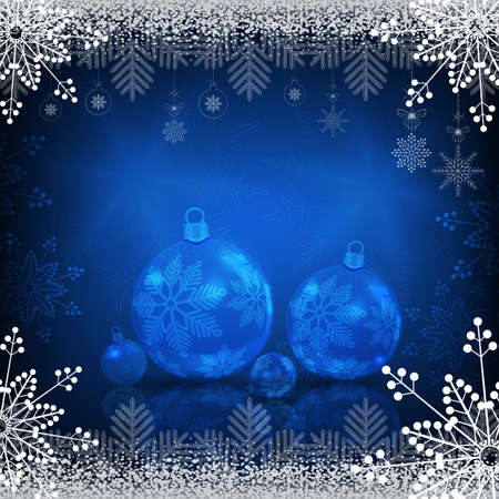 Blue background with snowflakes and christmas balls with mirror reflection