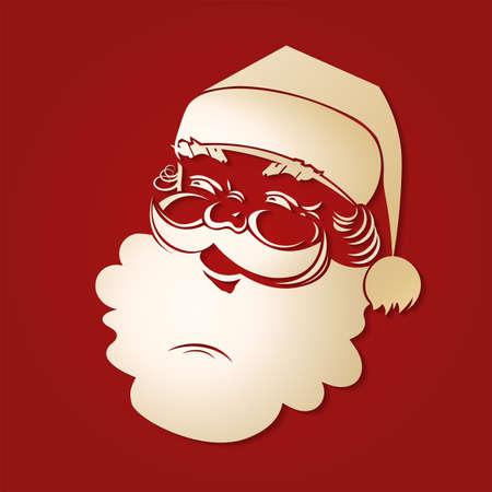 Silhouette of Santa Claus head of light colored ocher, design element.