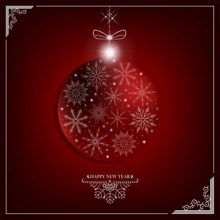 Red dark Christmas composition with a silhouette of a New Years ball with a frame, a bow and snowflakes. Illustration