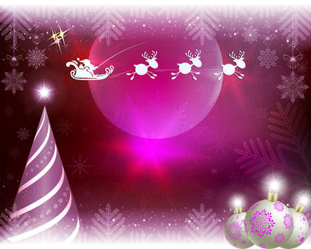 Christmas pink card with abstract tree, balls and Santa Claus riding in harness on reindeer.