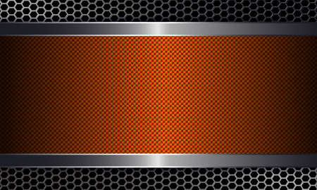 Geometric abstract orange textural design with a metal grille silhouette and rectangular frame with a shiny rim.