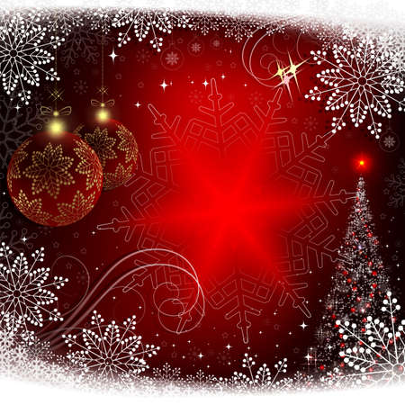 Christmas red background with snowflakes, Christmas red balls and with a spruce.