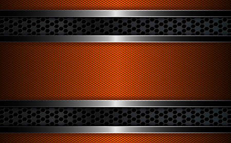 Geometric dark orange background with metal grille and frame with shiny edging.