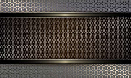 Geometric background with metal grille and frame with shiny edging.