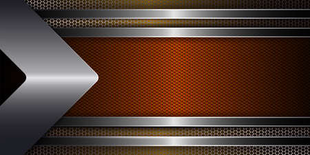 Geometric abstract background with metal grille, arrow and frame of orange shade with shiny edging.