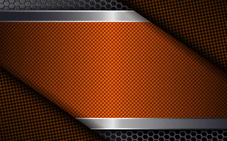 Geometric abstract background with a textured frame of orange shade with curtains at the corners and metal grill.