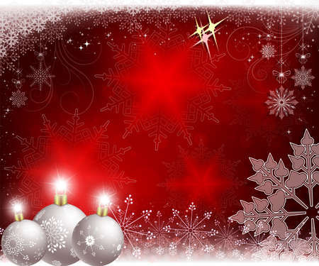 Christmas red design with white balls and snowflakes. Illustration
