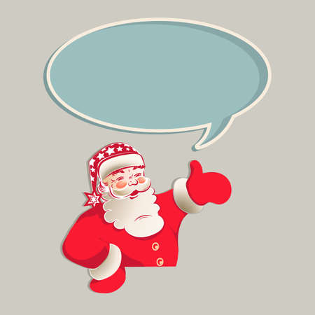 Figure Santa Claus with an oval frame, hand indicates direction, design element.