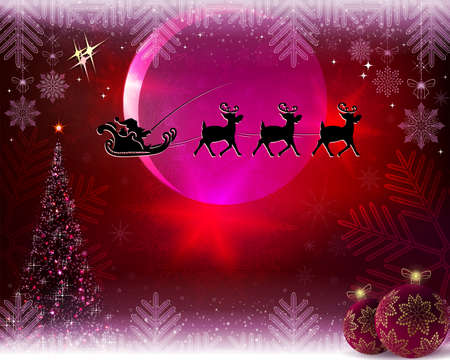 Christmas pink, red card with a Christmas tree, balls and Santa Claus riding in a harness on deer.