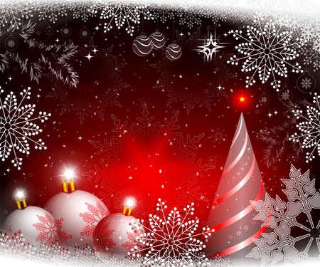 Weihnachtsroter Hintergrund mit Kugeln, abstraktem Weihnachtsbaum und Schneeflocken. Vektorgrafik