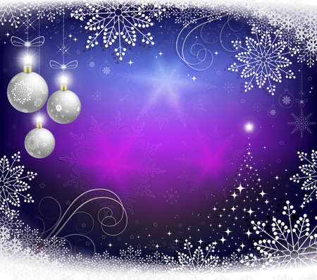 Christmas blue background with balls, Christmas abstract tree and snowflakes. Ilustracja