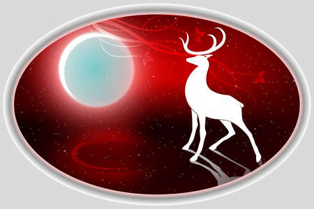 Christmas red oval composition with a magnificent deer and with a bright moon. Illustration