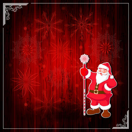 Christmas red composition with silhouette of wooden shield, white frame and Santa claus with staff, set of snowflakes.