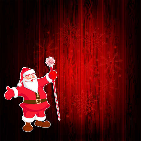 Christmas dark red composition with silhouette of wooden shield, Santa Claus with staff raised, set of snowflakes.