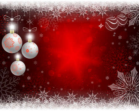 Christmas red background with white balls and snowflakes. Stock Photo