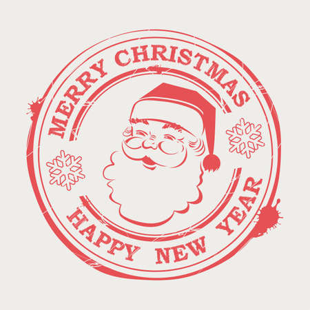 Christmas print with cute Santa Claus with text and snowflakes. Ilustrace