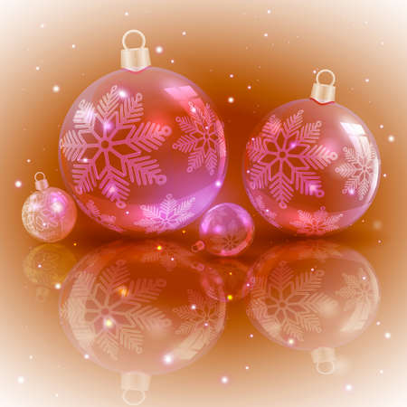 Christmas light ocher design with a set of Christmas shiny red balls with snowflakes, Stockfoto