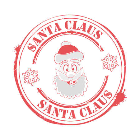 Christmas sign, print with a funny, funny face of Santa Claus,