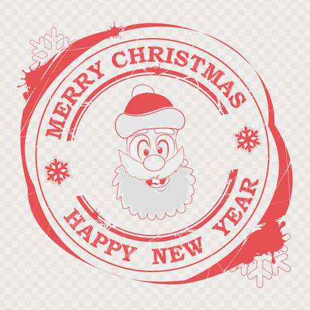 Christmas red stamp with a comic Santa Claus face and text,
