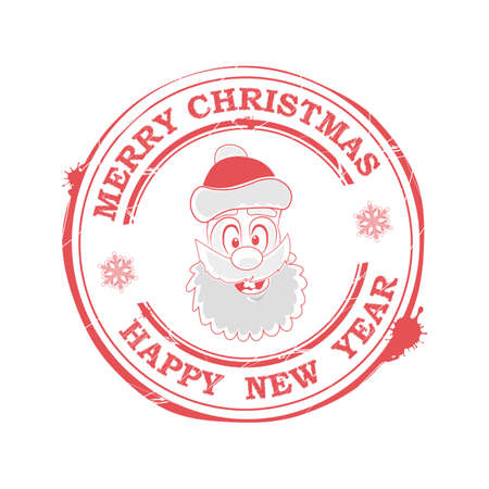 Christmas print with a funny, funny face of Santa Claus, 일러스트