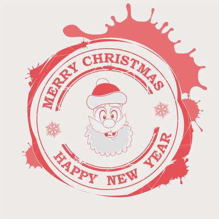 Christmas red print with a funny Santa Claus face and big blots with text