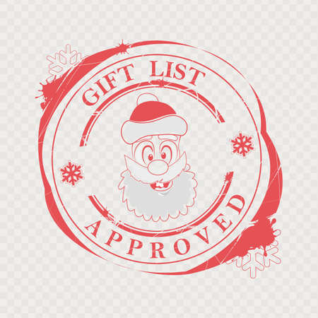 Christmas red stamp with a funny, funny face of Santa Claus and text.