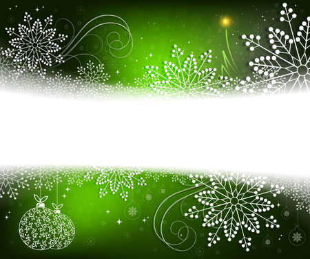 Christmas green design with white, elegant snowflakes, abstract little Christmas tree and balls in retro style Stok Fotoğraf - 111960655