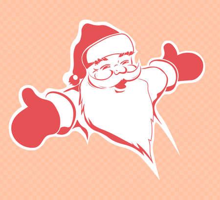 Christmas drawing of the silhouette of a cute Santa Claus with hands stretched in a red hue, design element.