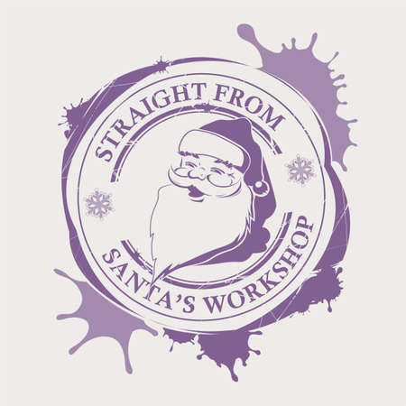 Christmas purple print with a silhouette of Santa Claus with big blots, design element.