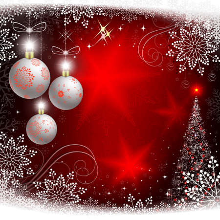 Christmas red background with snowflakes, Christmas white balls and with spruce.