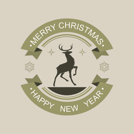 Christmas sign of a black green shade with a silhouette of a deer with a raised paw and with text. Stock fotó