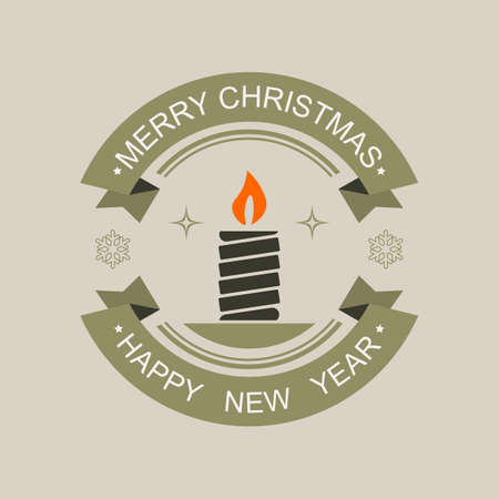 Christmas round sign of a green black hue with the silhouette of an abstract candle with a burning red flame.