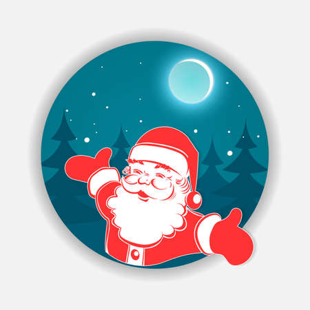 Christmas blue round sign with santa claus silhouette, design element. Illustration