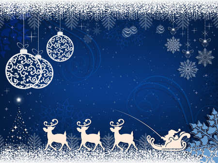 Christmas blue design with Santa Claus deer and balls in retro style.