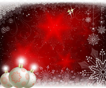 Christmas red background with white balls with red snowflakes and Christmas toys.