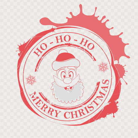 Christmas print in red with a funny Santa Claus face and big blots, design element.