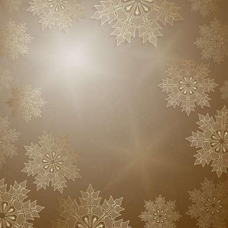 Christmas ocher design with elegant golden snowflakes, frame.