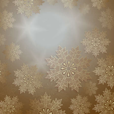 Christmas design with a set of slender snowflakes of gold color, frame.