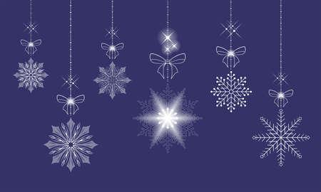 Christmas toys, snowflakes on pendants, set design element