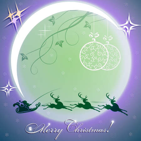 A blue Christmas card with a bright moon and Santa Claus rushes on deer.